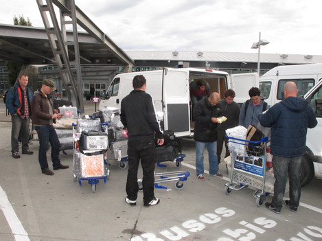 All the kit in Calafate Airport, including half the crew and producers...