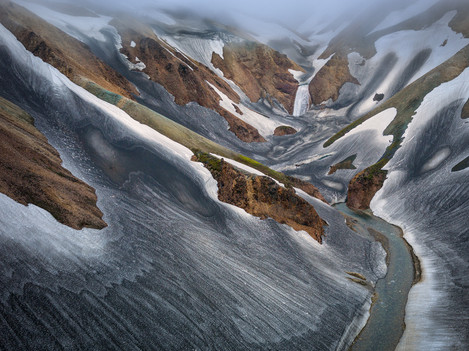 Hans Strand - Meltwater River in rain, Iceland