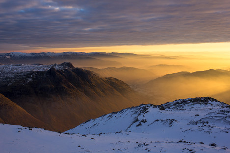 Great Langdale at dawn from Bowfell