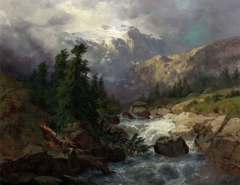 Painting 1. Alexandre Calame. Souvenir Handeck, Stormy Weather, 1858