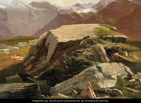Painting 2. Alexandre Calame Rocks near Murren, Switzerland