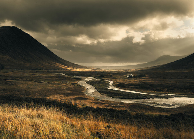 Lagangarbh cottage and the river Coupall, Glen Coe