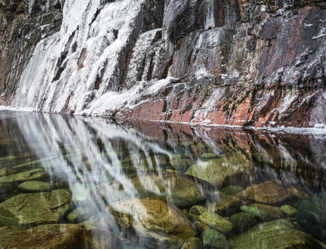 Ice Water to Rock Boulders - On Landscape