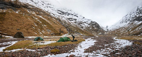Camping in the Lost valley below the snow line
