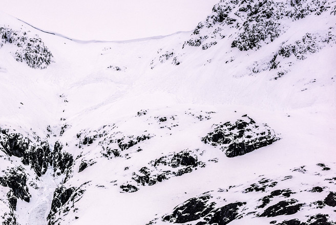 Lost Valley head wall - Too much avalanche risk to continue