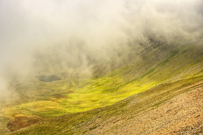 Mists parting to let in temporal light to Cwm Clogwyn, on Yr Wyddfa