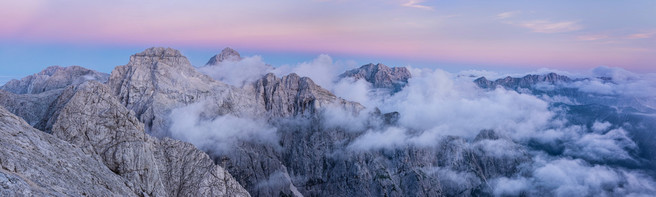 Highest peaks of Julian alps at dusk, Slovenia