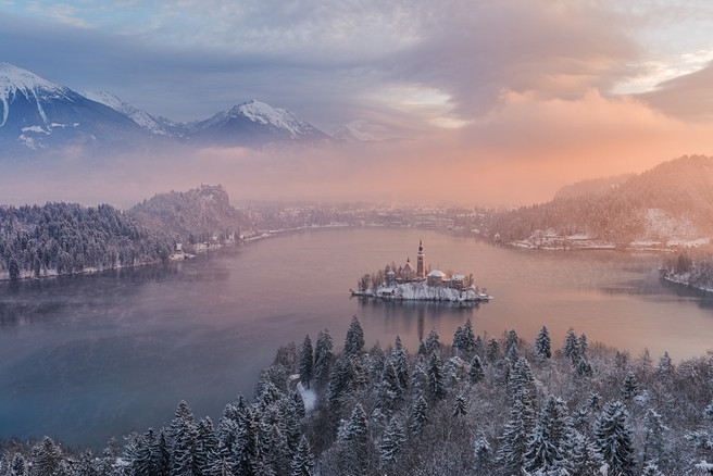 Lake Bled from an elevated view, Slovenia
