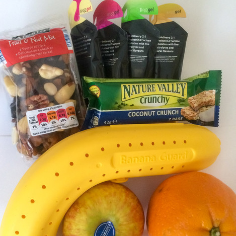 food should be taken on a regular basis to avoid peaks and troughs in energy levels. Fresh fruit can help replace some of your lost fluids and electrolytes, cereal bars and nuts provide slow release carbohydrate, while gels can give you a rapid boost if your energy levels suddenly drop.