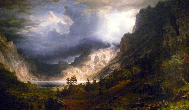 Albert Bierstadt, Storm over the Rocky mountains, 1866.