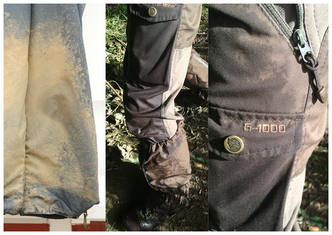 'gaiters are a cheap and practical addition to any outdoor photographer's kit - keeping some of the mud off of your boots and the bottom of your trousers. The Fjallraven G-1000 fabric that the walking trousers are made from is a dense weave polycotton - extremely tough, breathable and fast drying. However, if not re-proofed regularly with Greenland Wax or Nikwax Cotton Proof, they will still soak up moisture like a sponge. In this case the iPhone that was in the leg pocket was soaking wet by the time I had crossed one dew filled Autumn field - should have put it in one of the pouches pictured at the start of this article..!