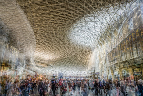 Kings Cross station: This is a multiple exposure and part of a panel of images telling the story of visitors to London rushing around all the attractions.